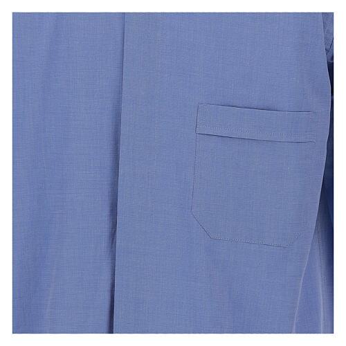 Camicia clergyman fil a fil blu m. lunga 2