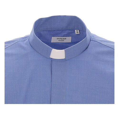 Camicia clergyman fil a fil blu m. lunga 3
