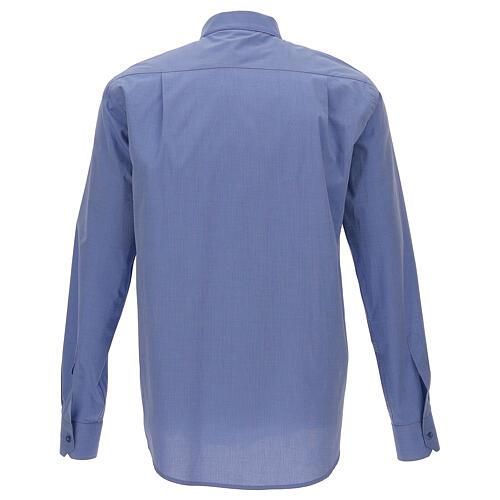 Camicia clergyman fil a fil blu m. lunga 5