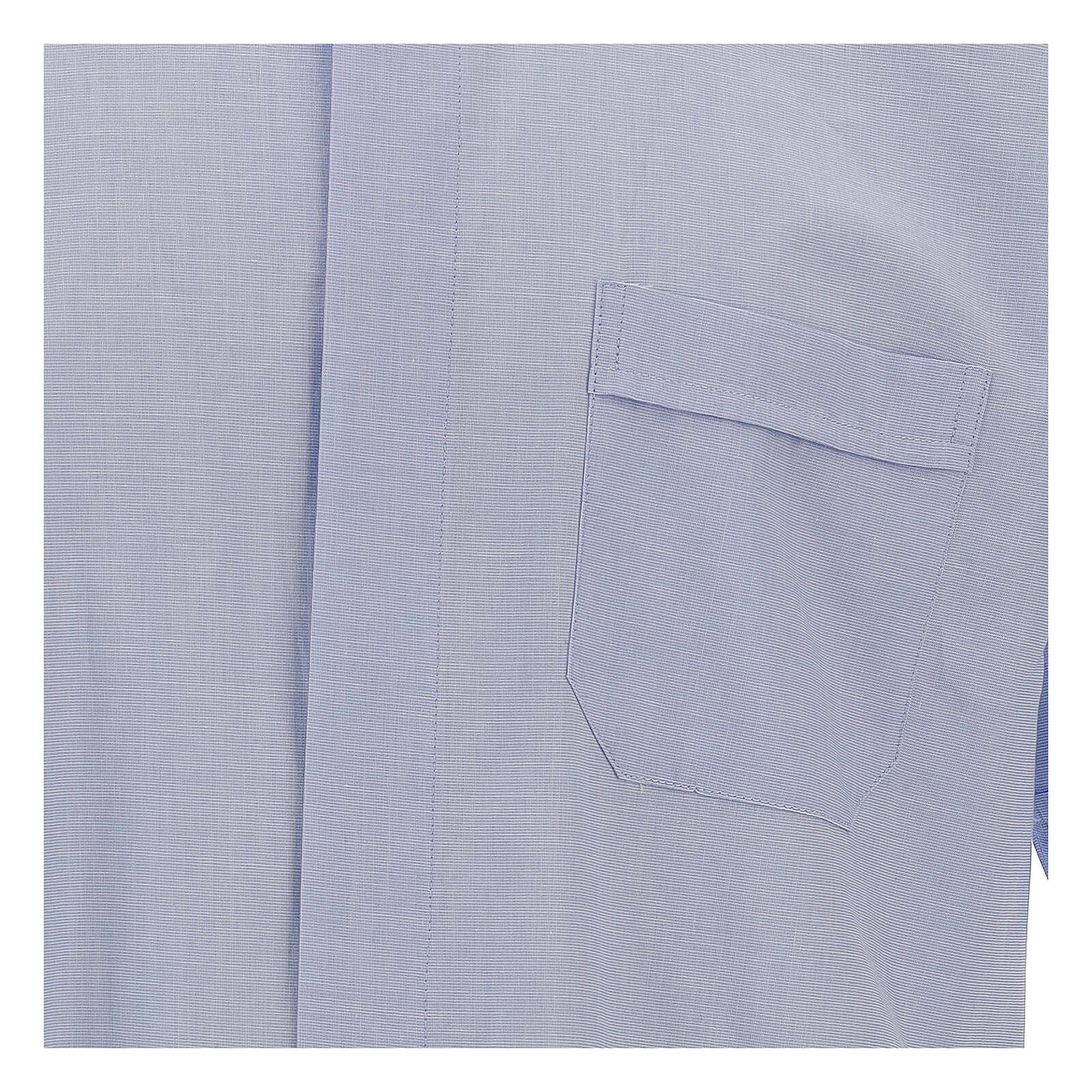 Chemise col clergy fil à fil bleu ciel manches courtes 4