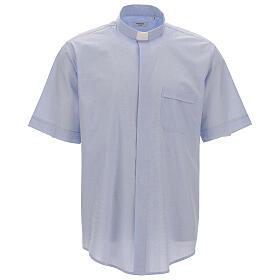Chemise col clergy fil à fil bleu ciel manches courtes s1