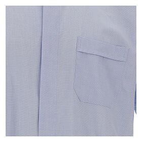 Chemise col clergy fil à fil bleu ciel manches courtes s2