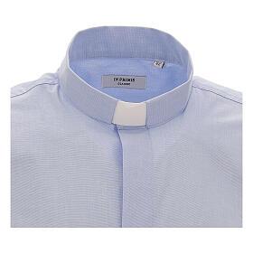Chemise col clergy fil à fil bleu ciel manches courtes s3