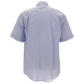 Chemise col clergy fil à fil bleu ciel manches courtes s4