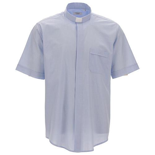 Chemise col clergy fil à fil bleu ciel manches courtes 1