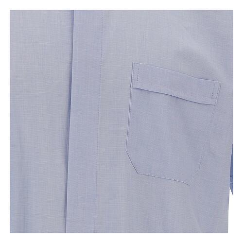 Chemise col clergy fil à fil bleu ciel manches courtes 2