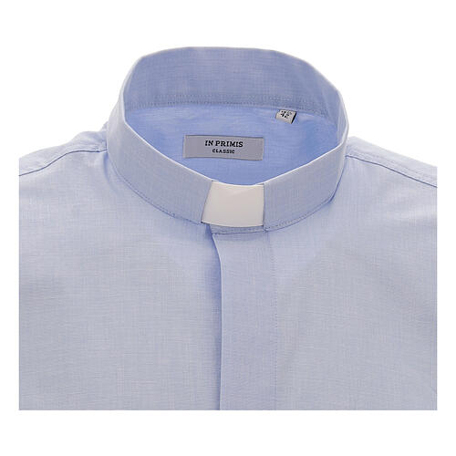 Chemise col clergy fil à fil bleu ciel manches courtes 3