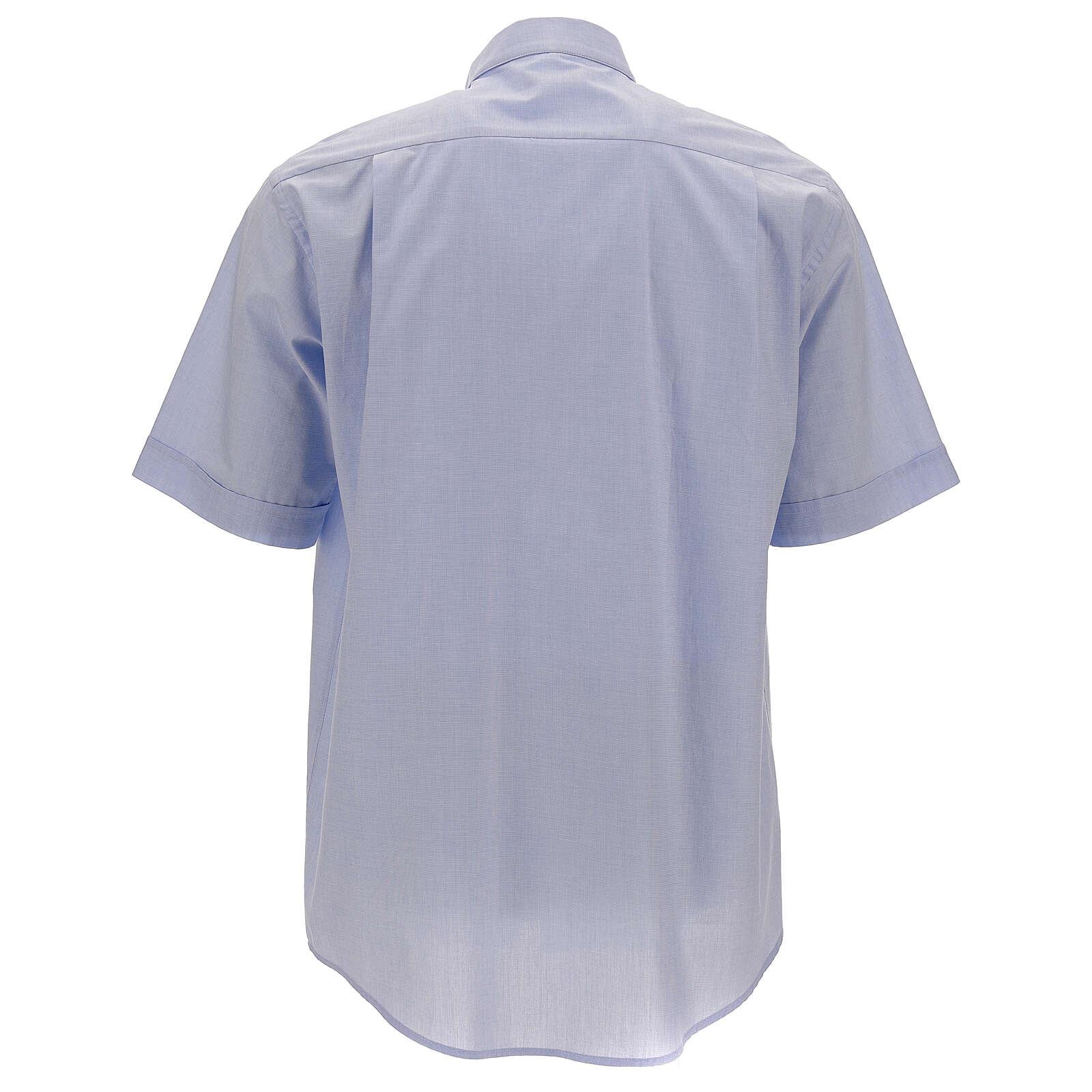 Camicia clergy fil a fil celeste manica corta 4