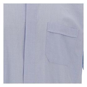 Camicia clergy fil a fil celeste manica corta s2