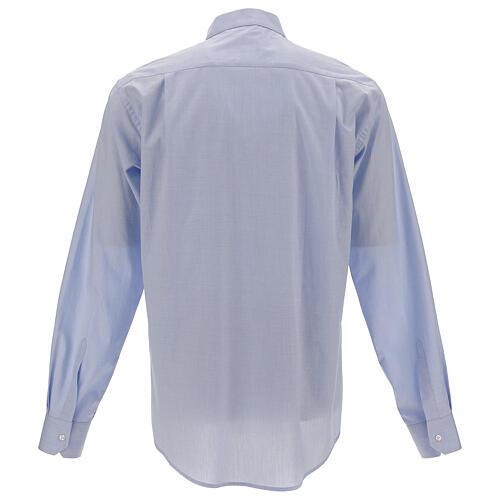 Camisa clergy celeste manga larga 4