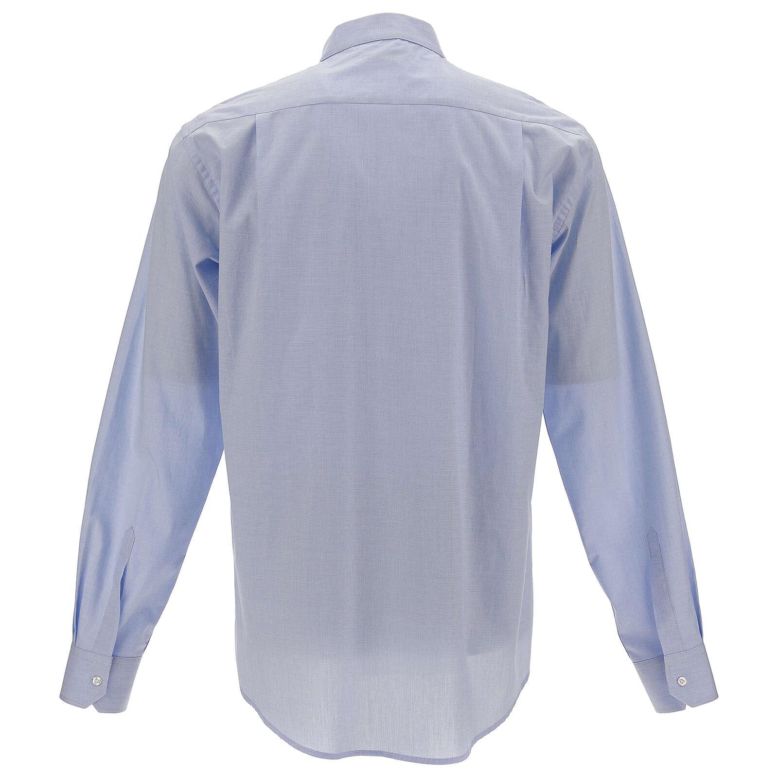 Chemise col clergy fil à fil bleu ciel manches longues 4