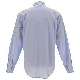 Chemise col clergy fil à fil bleu ciel manches longues s4
