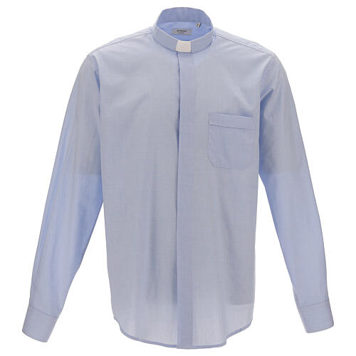 Chemise col clergy fil à fil bleu ciel manches longues 1