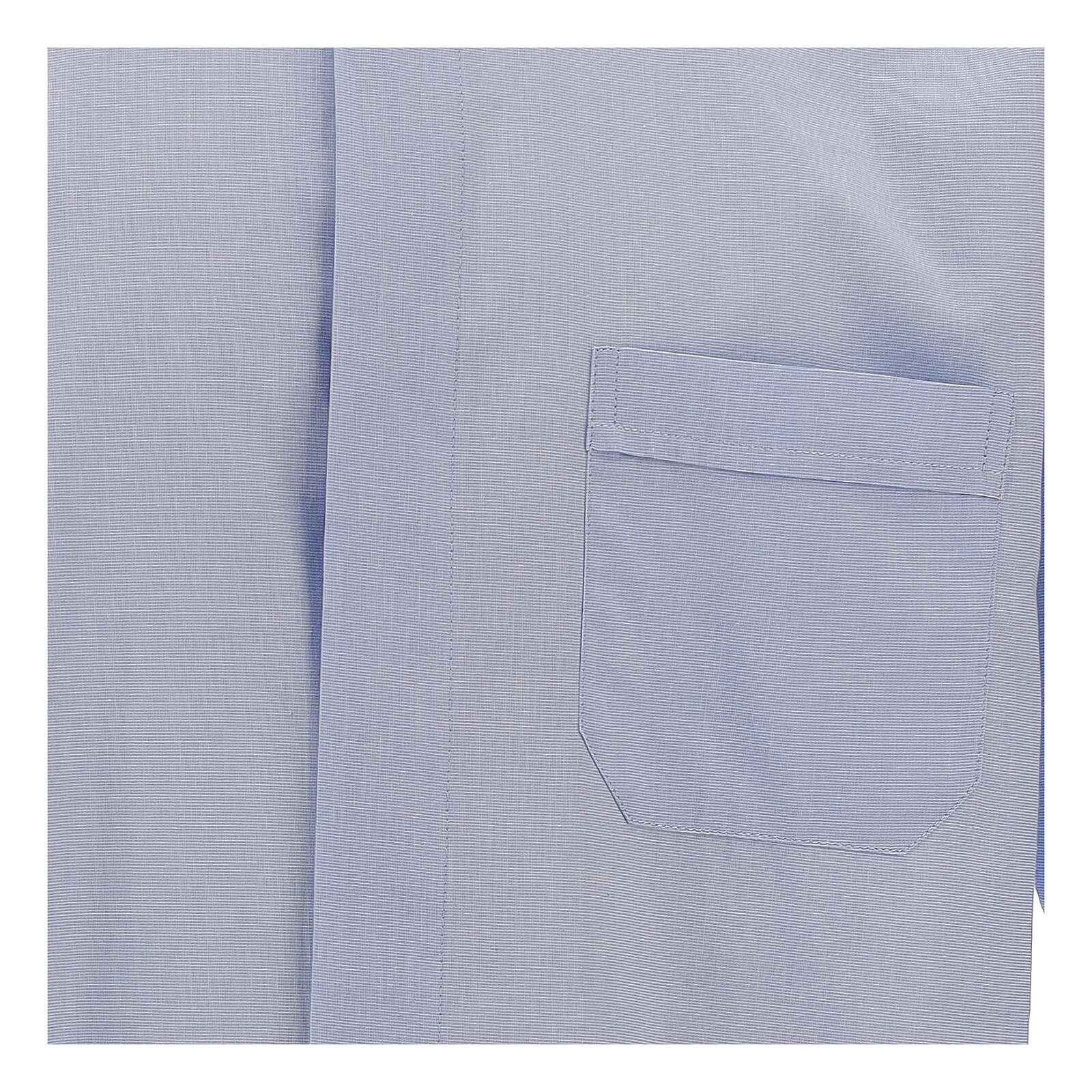 Camicia clergy fil a fil celeste manica lunga 4