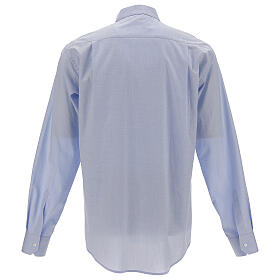 Camicia clergy fil a fil celeste manica lunga s4
