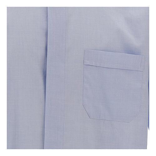 Camicia clergy fil a fil celeste manica lunga 2