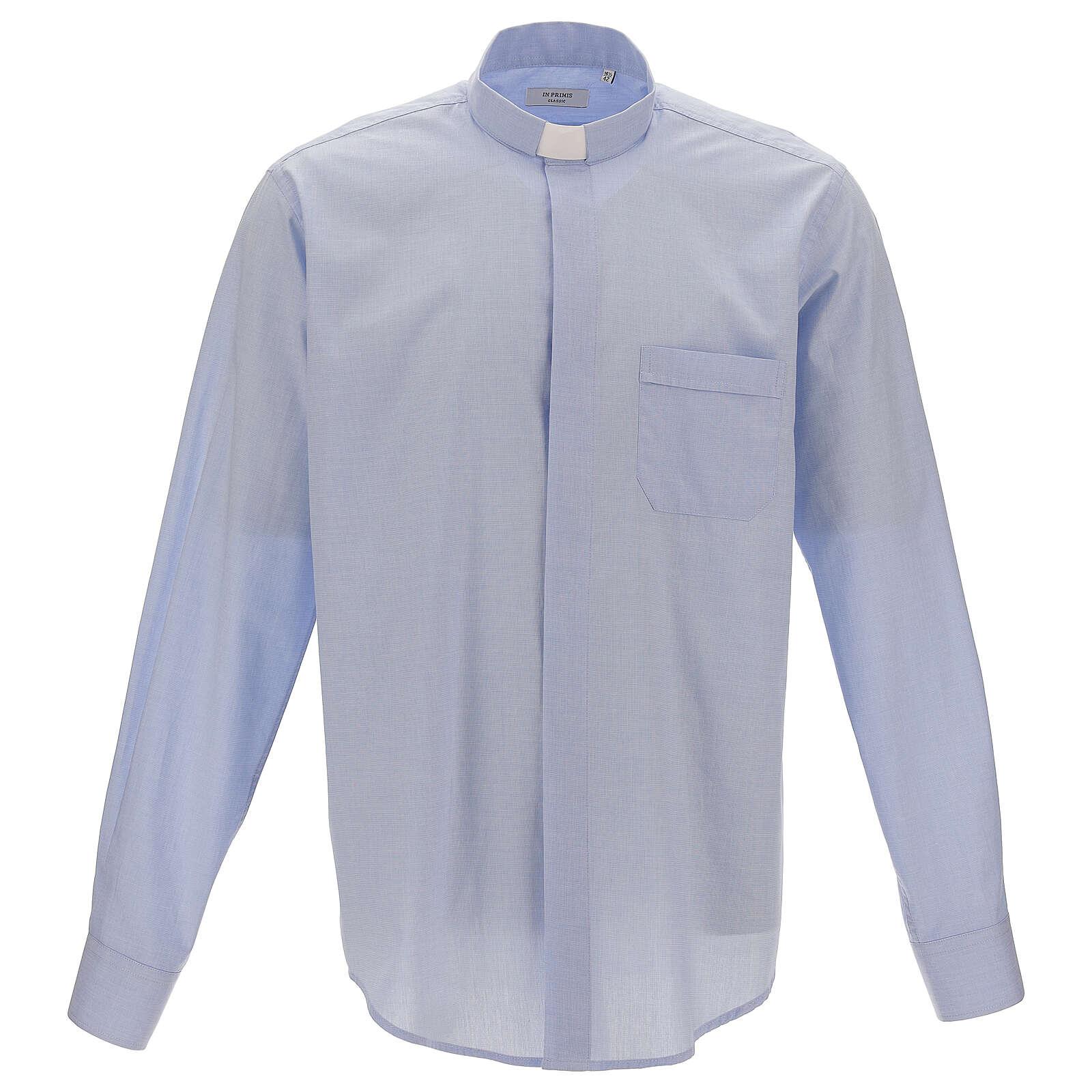 Koszula kapłańska fil a fil błękitna długi rękaw | sprzedaż  F1X0I