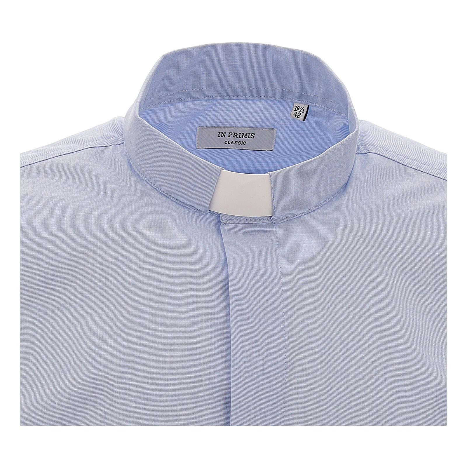 Koszula kapłańska fil a fil błękitna długi rękaw 4