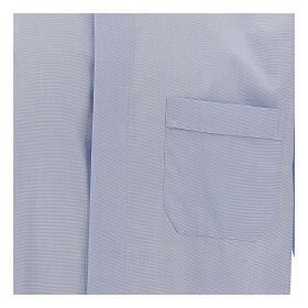 Koszula kapłańska fil a fil błękitna długi rękaw s2