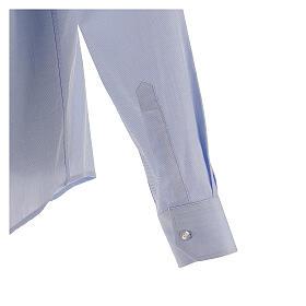 Koszula kapłańska fil a fil błękitna długi rękaw s5