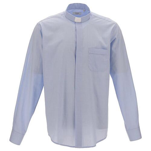 Koszula kapłańska fil a fil błękitna długi rękaw 1