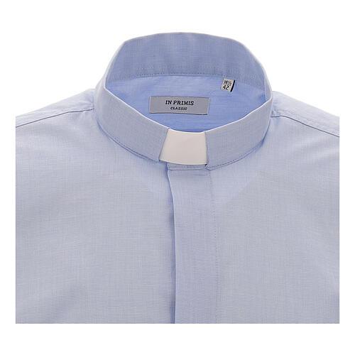 Koszula kapłańska fil a fil błękitna długi rękaw 3