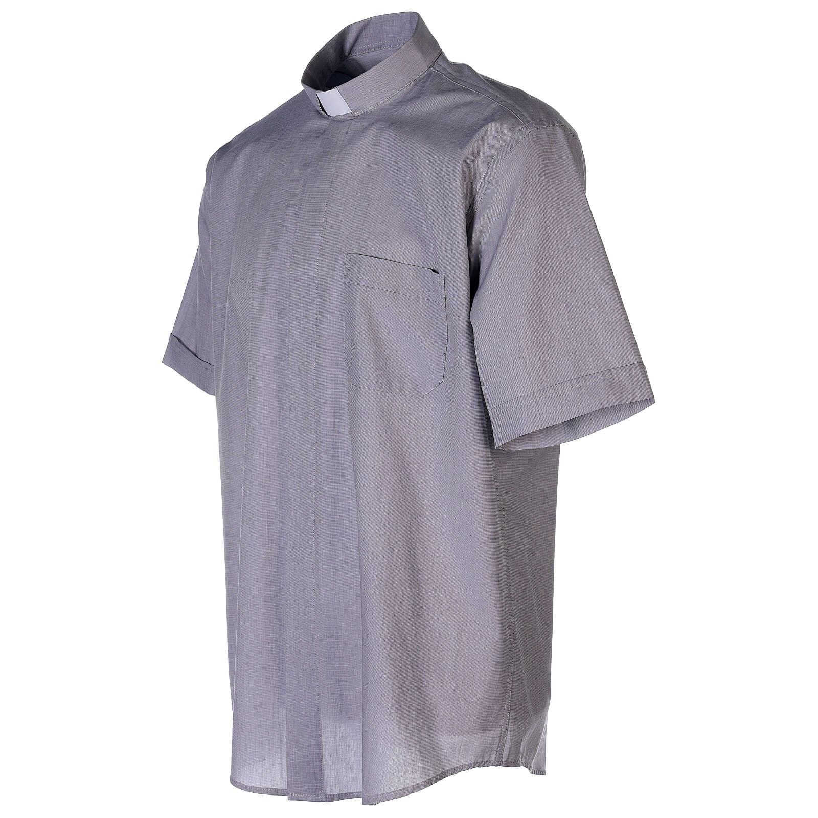 Chemise col clergy fil à fil gris clair manches courtes 4