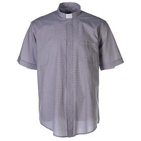 Chemise col clergy fil à fil gris clair manches courtes s1