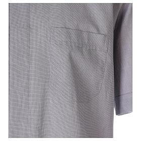 Chemise col clergy fil à fil gris clair manches courtes s3