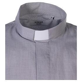 Chemise col clergy fil à fil gris clair manches courtes s4