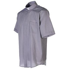 Chemise col clergy fil à fil gris clair manches courtes s5