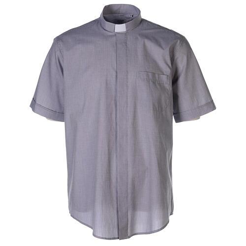 Chemise col clergy fil à fil gris clair manches courtes 1