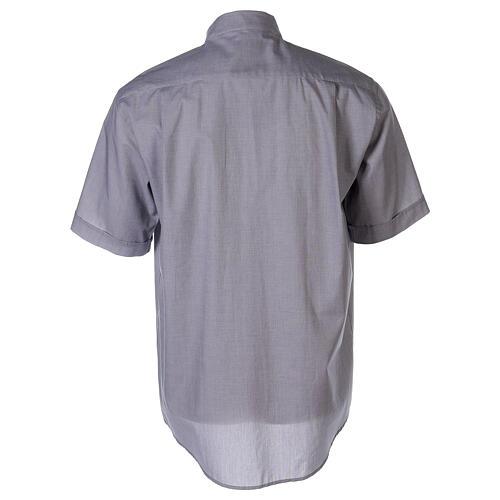 Chemise col clergy fil à fil gris clair manches courtes 2