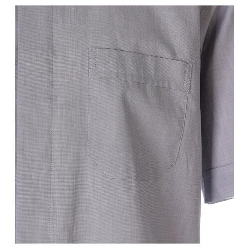 Chemise col clergy fil à fil gris clair manches courtes 3