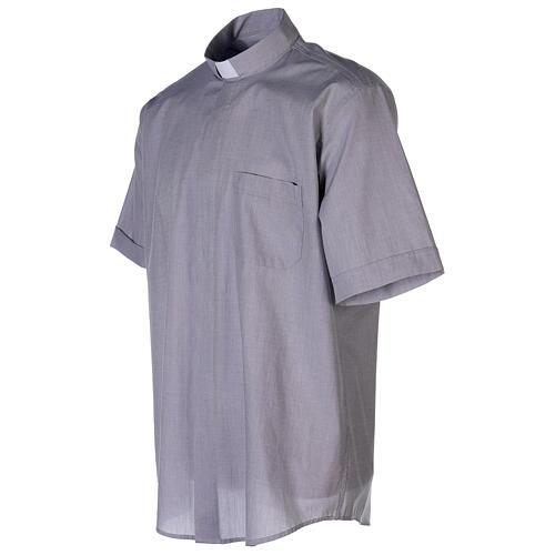 Chemise col clergy fil à fil gris clair manches courtes 5
