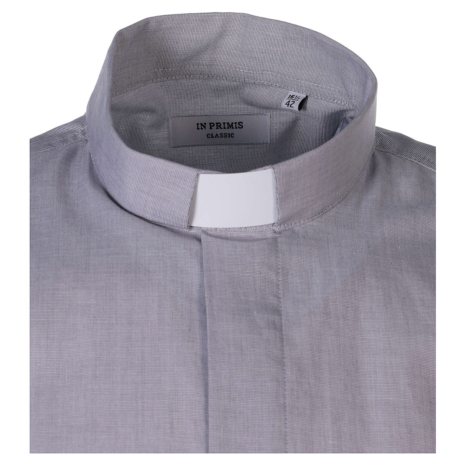 Camisa colarinho clergy filafil cinzento claro manga curta 4