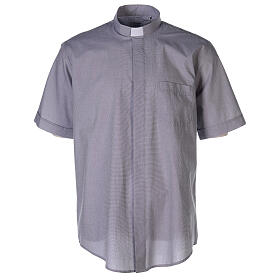 Camisa colarinho clergy filafil cinzento claro manga curta s1