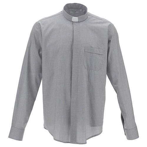 Camisa clergy gris claro manga larga 1