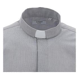 Camicia clergy fil a fil grigio chiaro m. lunga s3