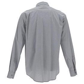 Camicia clergy fil a fil grigio chiaro m. lunga s4