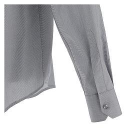 Camicia clergy fil a fil grigio chiaro m. lunga s5