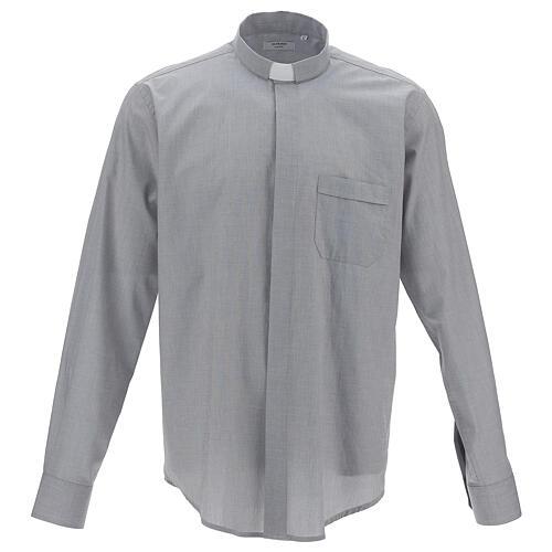 Camicia clergy fil a fil grigio chiaro m. lunga 1