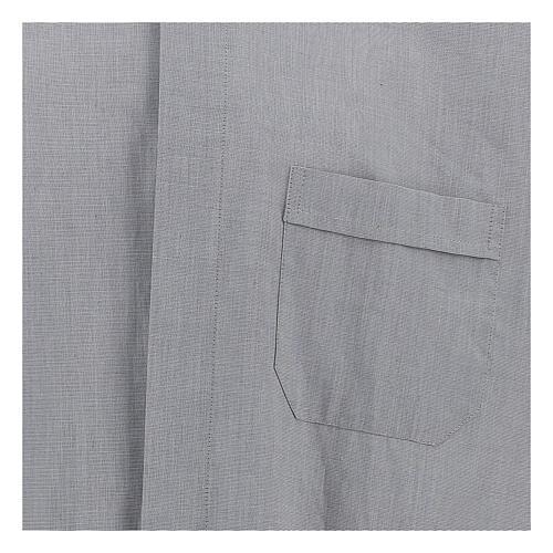Camicia clergy fil a fil grigio chiaro m. lunga 2