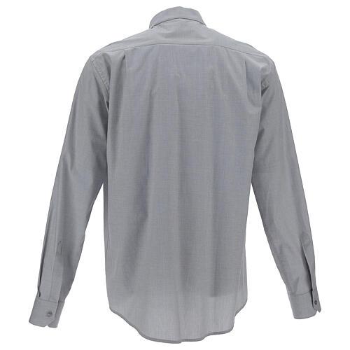 Camicia clergy fil a fil grigio chiaro m. lunga 4