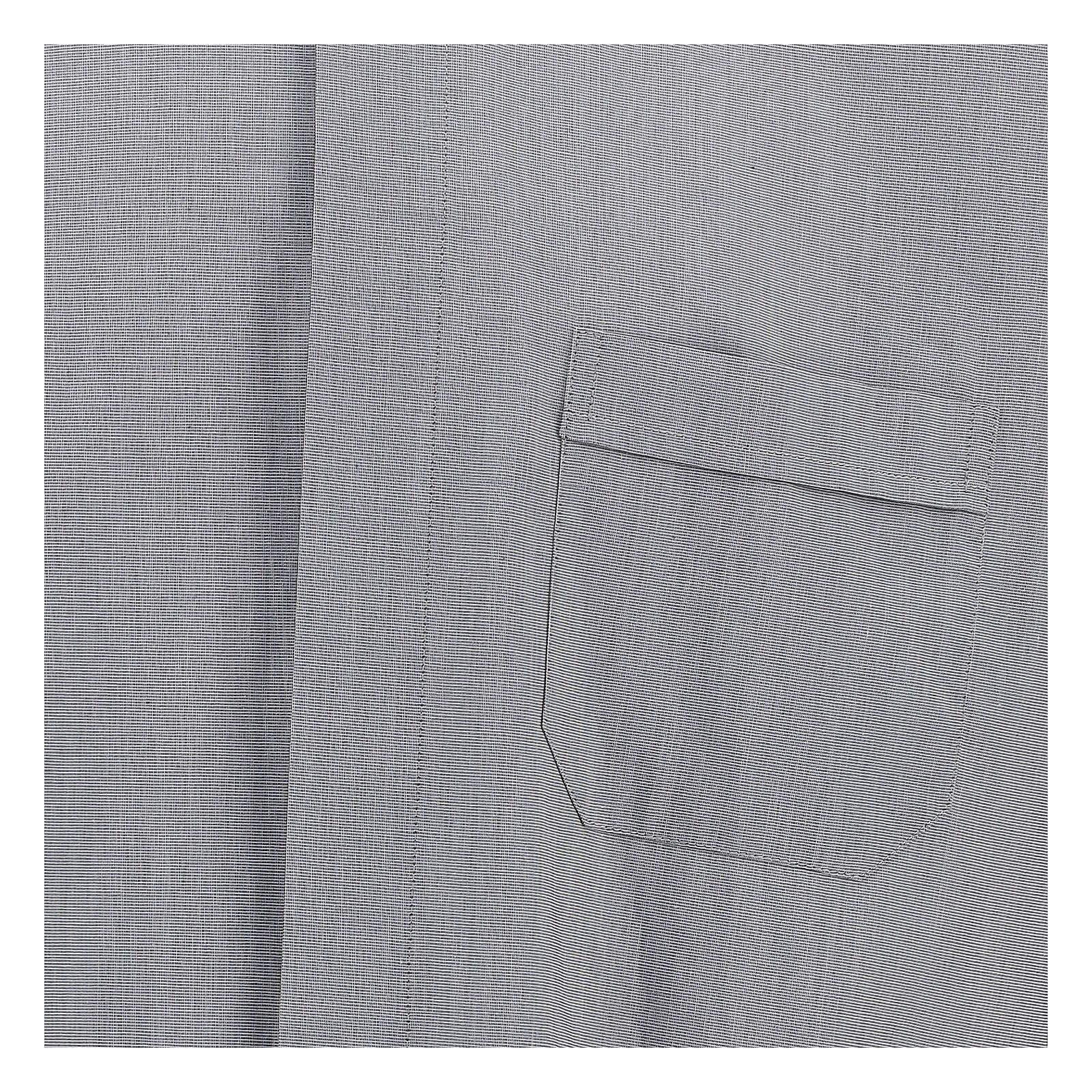 Camisa colarinho clergy filafil cinzento claro manga longa 4