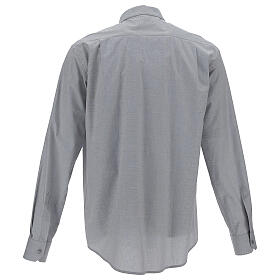 Camisa colarinho clergy filafil cinzento claro manga longa s4