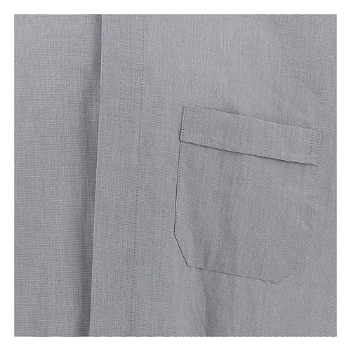Camisa colarinho clergy filafil cinzento claro manga longa 2