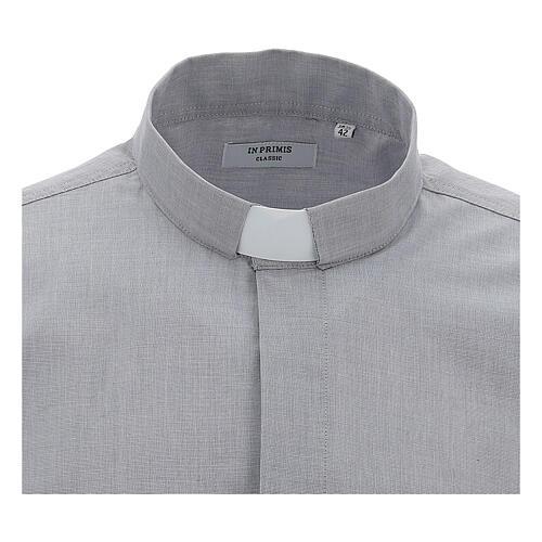Camisa colarinho clergy filafil cinzento claro manga longa 3