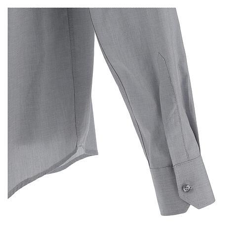 Camisa colarinho clergy filafil cinzento claro manga longa 5