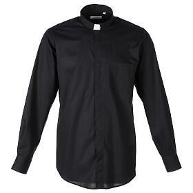 Camisa clergy In Primis elástica algodón m. larga negro s1